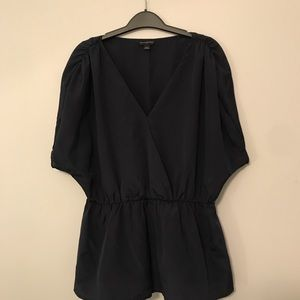 navy banana republic peplum top